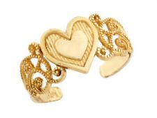 10k / 14k Solid Yellow Gold Heart Filigree Toe Ring Jewelry