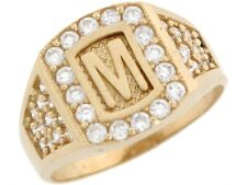 10k or 14k Real Yellow Gold White CZ Accent Letter M Initial Ring