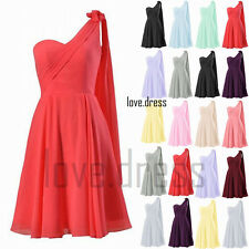 New One Shoulder Chiffon Formal Prom Ball Bridesmaid Dresses Cocktail Size 6-22