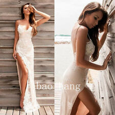 Sexy Split Side Wedding Dress Beach Spaghetti Straps Bridal Gown Applique Summer