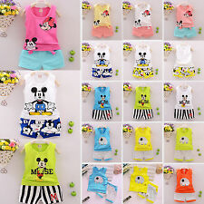 Kids Girls Outfits Clothes Mickey Print T-shirt Vest Tops+Shorts Pants Sets 2Pcs