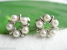 Tiny White Shell Pearl Platinum Polished Plated Wreath Stud Earrings Present