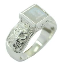 Rainbow Moonstone 925 Sterling Silver Ring indian White refined AU K,M,O,Q