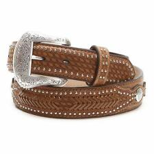 Nocona Western Ostrich Print Weave Billets Laced Leather Brown N2491844