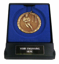 Rugby Laurel 50mm Medal (Gold, Silver, Bronze) with Case & FREE Engraving