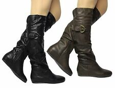 WOMENS THE KNEE LONG THIGH HIGH BOOTS ZIP UP LOW HEEL SHOES SIZE 3 4 5 6 7 8 9