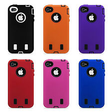 Hard Rubber Case + Stylus+ Front & Back Screen Protector for Apple iPhone 4 4s