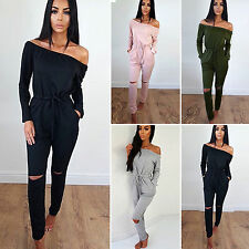 Womens Ladies Off The Shoulder Playsuit Party Casual Jumpsuit Romper Trouser New