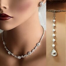 Crystal choker Wedding bridal jewelry set bridesmaid necklace earrings