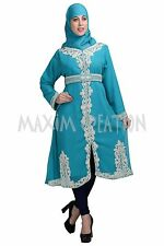 DUBAI KAFTAN GEORGETTE HAND EMBROIDERY KURTI JILBAB ARABIAN  DRESS 5812