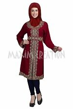 DUBAI KAFTAN GEORGETTE HAND EMBROIDERY KURTI JILBAB ARABIAN  DRESS 5810