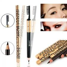 Fashion Women Waterproof Brush Eyebrow Pencil Makeup Leopard Eyeliner