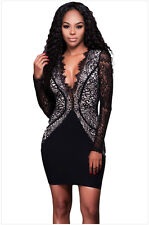 Sexy Scalloped V Neck Sheer Lace Long Sleeve Women Evening Party Mini Dress LBD