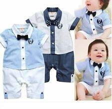Baby Boy Wedding Christening Tuxedo Formal White Suit Outfit Cloth Romper 3-18M