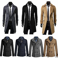 Mens Long Jacket Double Breasted Outerwear Coat Overcoat Woolen Slim Fit Trench