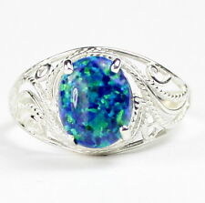 Created Blue/Green Opal, 925 Sterling Silver Ladies Ring-Handmade, SR083