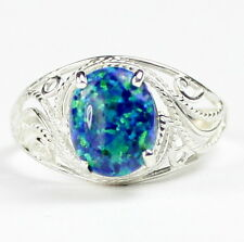 Created Blue/Green Opal, 925 Sterling Silver Ring-Handmade, SR083