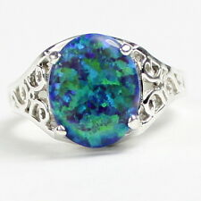 Created Blue Green Opal, 925 Sterling Silver Ring, SR057-Handmade