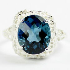 London Blue Topaz, 925 Sterling Silver Ring, SR009-Handmade