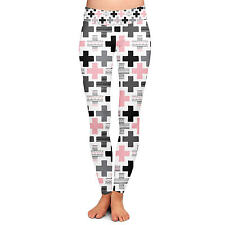 Geometric Plus Pink Yoga Leggings Low Rise Full Length XS-3XL