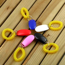 Dog Pet Click Clicker Training Obedience Agility Trainer Aid Wrist Strap NG