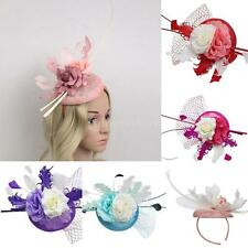 Elegant Women Feather Fascinator Flower Veil Top Hat Headband Wedding Party Gift
