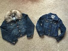 Justice Girls Jean Jacket with fur collar 8 & GAP kids Girls jean jacket small