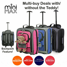 MiniMAX Childrens/Kids Cabin Luggage Carry On Trolley Suitcase with Backpack