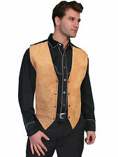 Scully Leather Mens Western Boar Suede Snap Front Vest Bourbon