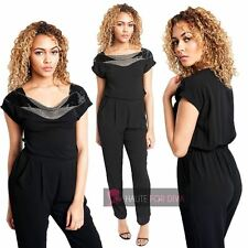 NEW LADIES BOAT NECK SHORT SLEEVE BEADED FRONT DETAIL BLACK JUMPSUIT M-XL