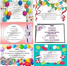 Birthday Party Invitations Girl Boy Balloons Bunting Butterflies Glossy A6 Env