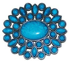 BU66 ROUNDED TURQUOISE CLUSTERS  BELT BUCKLE & OPTIONAL BELT STRAP