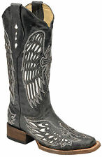 Corral Boots Womens Leather Wing & Cross Black Bone Cowgirl