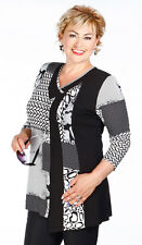Women Plus Size/For Curves Loose Style Tunic 3/4 Sleeve Black and White Top