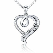 Sterling Silver Necklace Pendant Love You Heart Valentines Day Gift for Her