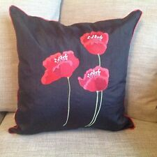 """Poppy Enbroidered Faux Silk 18"""" x 18""""Cushion Covers Red Cream Black."""