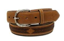 Nocona Western Mens Belt Leather Laced Overlay Conchos Brown N2474702