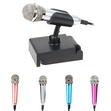 3.5mm Audio Plug Wired Mini Microphone with Stand Portable Stereo Condenser Mic
