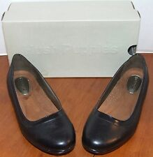Hush Puppies Adalia Black or Dark Brown Leather Flats Shoes