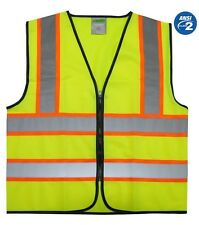 ANSI CLASS 2 High Visibility Reflective Safety Vest Solid Lime Bright Best New