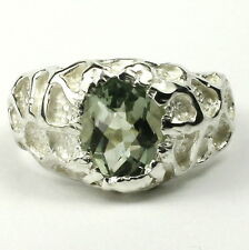 SR168,  Green Amethyst (Prasiolite), 925 Sterling Silver Men's Ring-Handmade