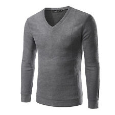 Men's Fashion Fit Long Sleeve Mens Pullover Knit Sweater Slim Casual Coat Tops
