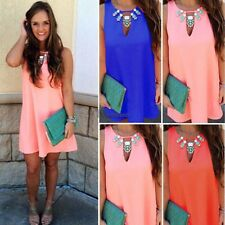 2016 Fashion Women O-Neck Sleeveless Summer Mini Dress Chiffon Sundress New WT88