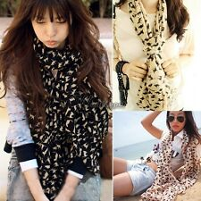 Women Fashion Cats Print Long Style Wrap Lady Shawl Chiffon Scarf Scarves WT88