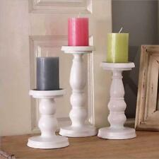White Metal Carved Church Pillar Candlestick Hall Way Tea Light Candle Holder