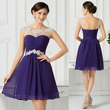 Teens Beads Short Wedding Bridesmaid Evening Party Cocktail Gown Prom Ball Dress