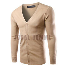 Simple Men's Stylish Slim Fit Knit V-Neck Cardigan Casual Sweater Coat Jackets