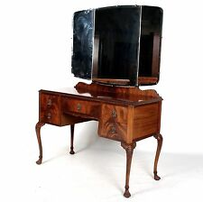 Antique Vintage Dressing Table Flamed Mahogany Art Deco Kneehole Twin Pedestal T