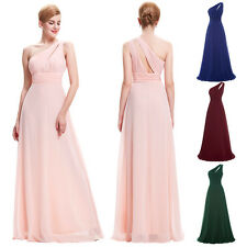 One Shoulder Long Bridesmaids Dress Evening Party Prom Gown Ball Wedding Guest
