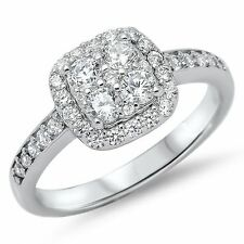 STERLING SILVER Simulated Diamond Square Illusion Halo Ring Size 7 8 9 / N P R